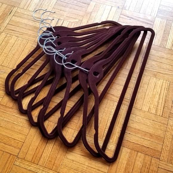 Set of 10 slim no slip dark brown velvet hangers